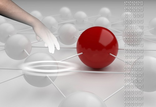 Binary code against hand  with abstract background  of red end white ball made in 3d.