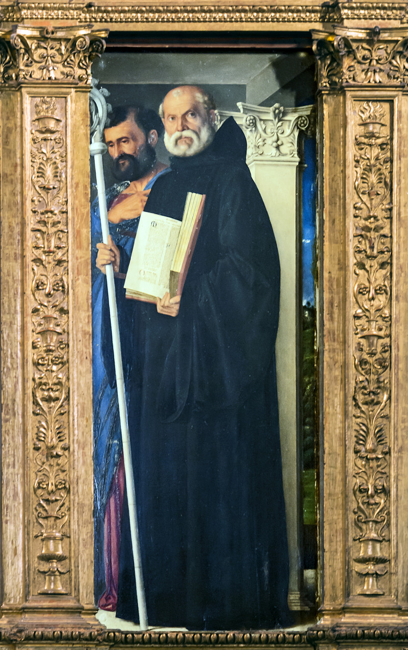 Frari (Venice) - Sacristy - triptych by Giovanni Bellini -  Saint Benedict of Nursia and Saint Mark
