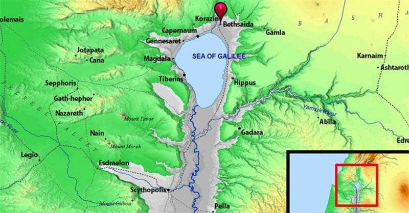 加利利海北岸伯赛大的地图图片